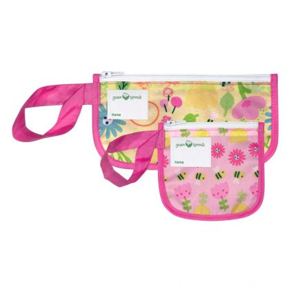 Pink Bee Floral Reusable snack bags