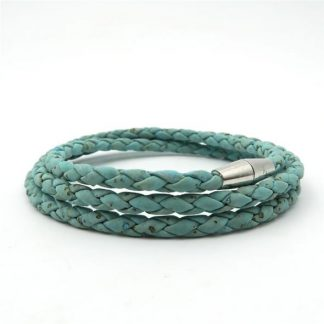 Light blue braided cork bracelet